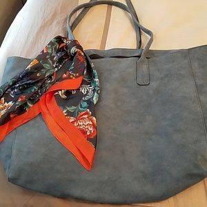 Blue Suede Tote from Saks Fifth Avenue